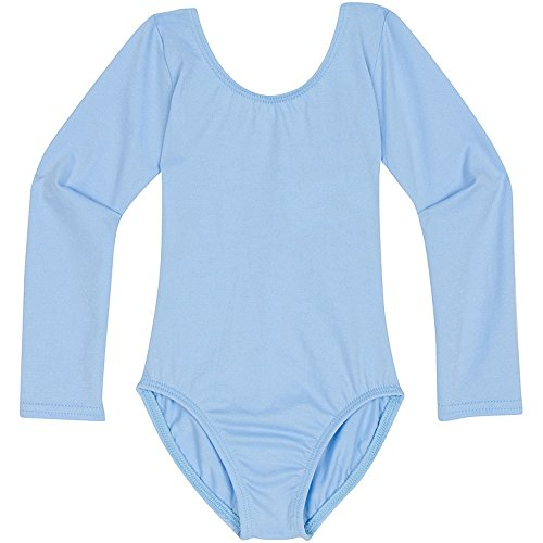 Toddler and Girls Leotard for Dance, Gymnastics and Ballet with Long Sleeve Light Blue XS ()