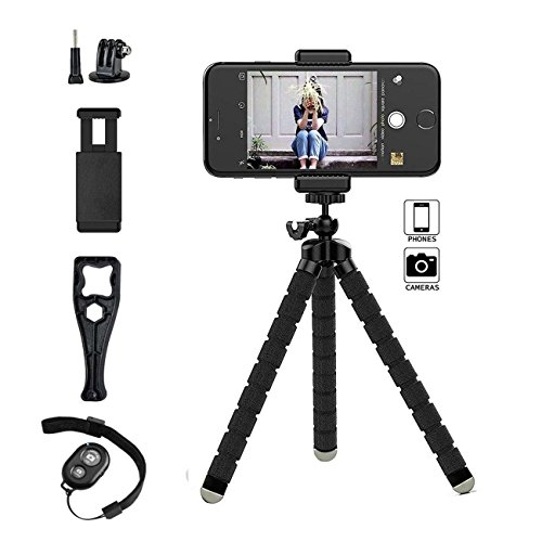 Phone Tripod Stand,Octopus Adjustable Phone Tripod Holder with Universal Clip and Remote Shutter Release for Gopro ipad and Any Smartphones