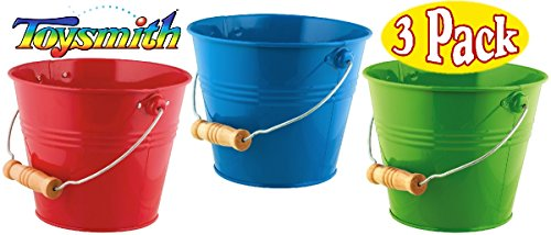 Toysmith Bright & Colorful Metal Pails Red, Blue & Green Gift Set Bundle - 3 (Bright Pails)