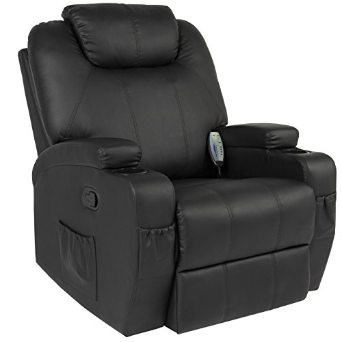 Best Choice Products Executive PU Leather Swivel Electric Massage Recliner Chair w/ Remote Control, 5 Heat & Vibration Modes, 2 Cup Holders, 4 Pockets - Black