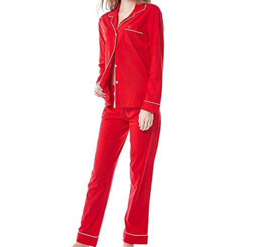 La Sra Ocasional Del Algodón Con Cuello En V De Manga Larga Y Pijamas Juego Cómodo Red