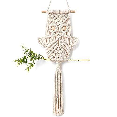 Mkono Owl Macrame Wall Hanging Art Decor Handmade Woven Tapestry Boho Ornament Wall Hanger - Office Living Room Bedroom Nursery Craft Decorations ()