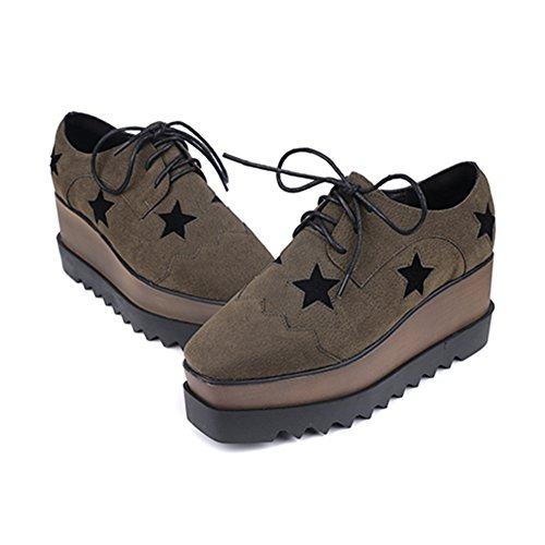 Btrada Tjock Botten Womens Plattform Fyrkantig Tå Mode Sneaker Hög Klack Tillfällig Promenadskor Armygreen
