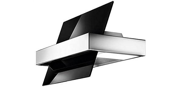 Galvamet/Touch 86/A - Barniz de acero inoxidable, 86 cm, función 24 h de comodidad, cabezal vertical de pared, campana extractora, cristal negro, diseño de acero inoxidable, LED ecológico, 100% fabricado en Italia: