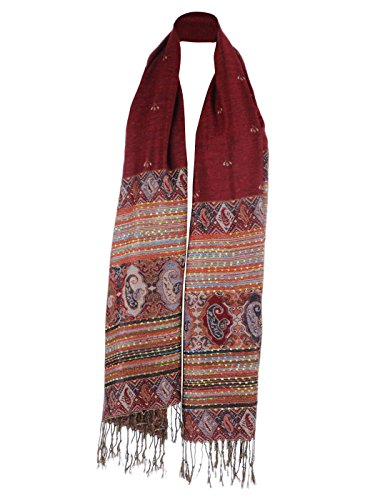 Anna-Kaci Women's Multicolor Tribal Ethnic Inspired Thick Woven Tassel Scarf