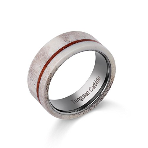 POYA Mens Tungsten Wedding Band with Real Deer Antler and Thin Stripe Wood Inlay Hunting Ring