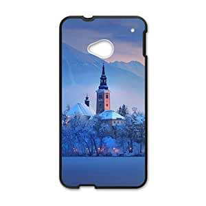 Creative phone case for HTC M7,glam snow tower design
