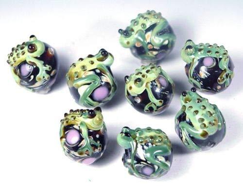 ShopForAllYou Design Making 4 Lampwork Handmade Glass Green Frog Hug Ball Beads