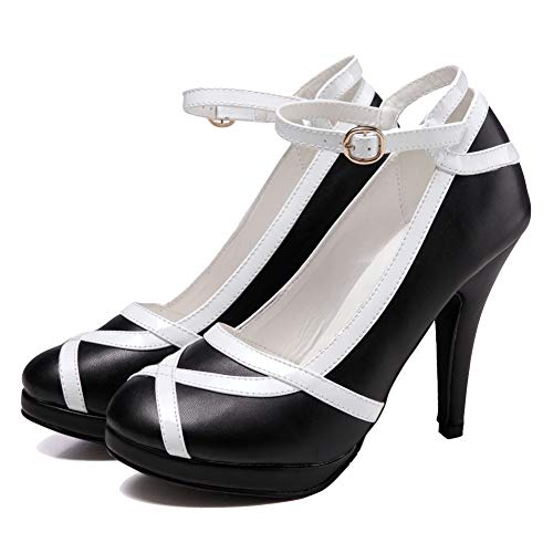 getmorebeauty Women's Vintage Retro Two Tones Black and White Buckle Dress High Heels 9 B(M) US Black White Stiletto Heel Shoe