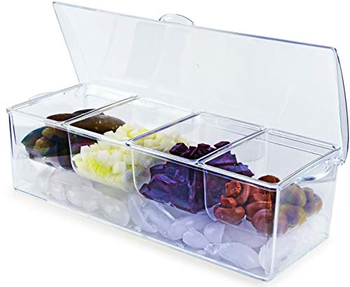Circleware 10044 Acrylic Condiment Station with Ice Chiller 4-Section Glass Preserving Dish Platter, Home & Kitchen Serving Tray for Fruit, Salad, Cheese, Snack, Dessert and Candy, 14.5