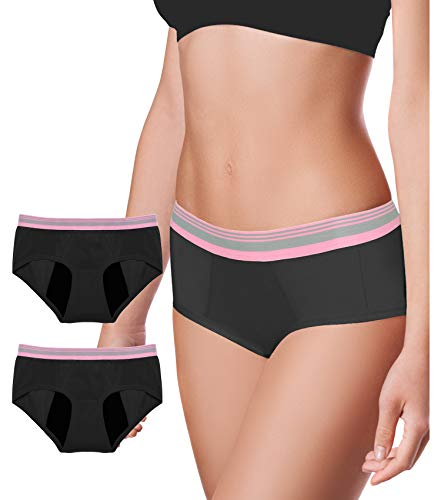 Intimate Portal Absorbent Leakproof Period Panties Incontinence Menstrual Underwear Women Teen 2-Pk Black Duo XS
