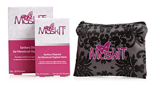 MaskIT Starter Kit: Sanitary and Discreet Disposal of Feminine Hygiene Products, Tampons and Pads, Plant-Based Materials, Blocks Odor, Wont Leak, 52 Count