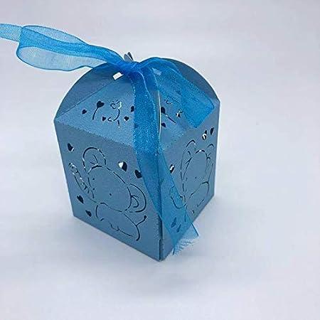 Daicaffar - Bolsas de regalo y suministros de envoltorio, 50 unidades, diseño de elefante hueco, caja de regalo para baby shower, cajas de dulces, galletas, cajas de regalo, cajas de regalo para