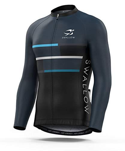 Swallow Men Long Sleeve Cycling Jersey Bike Shirt Full Zip Shirt Cycling Shirt (A1-1974-LJ, Medium)
