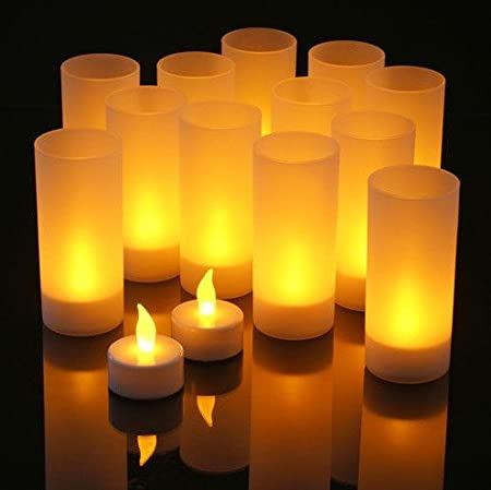 Rechargeable LED Tea Light Tealight Candle with Frosted Holder For Home Wedding Party Thanksgiving Christmas Decoration 6, Warm White With Remote Control