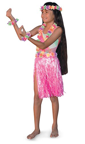Tropical Sun 18755 Child Hula Set Pink- Skirt: Nylon Leis: Silk and Polyester