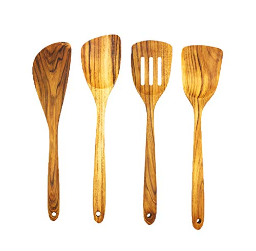 Premium Golden Teak Wood Spatula Set By Tectona Teak Handmade Wooden Spatula Long Handle - Natural - Eco Friendly - High Heat Resistant Wooden Utensils Set - Non Stick Cookware (Teak Spatula Set of 4)