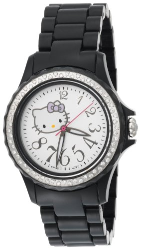 Hello Kitty Women's QWL1632DIANFBLK Kimora Lee Simmons Diamond Bezel Black Ceramic Watch