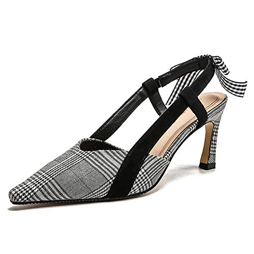 Pump Houndstooth Heel High (MKHDD Summer Pointed Houndstooth Bow Slim High Heels Sandals Concise Elegant Slingbacks Pumps Dress Shose,Gray,34)