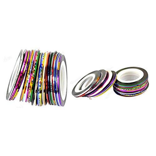 Decoration 30 Pcs Sticker Random Mixed Colors Striping Nail Art Tape Rolls Line Tips