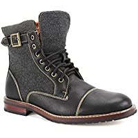Men's Polar Fox 808566 Houndstooth Stitched Tall Military Style Fashion Dress Boots
