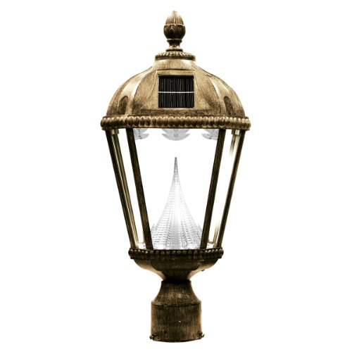 Gama Sonic Royal Solar Outdoor LED Light Fixture, 3-Inch Fitter for Post Mount, Weathered Bronze Finish #GS-98F-WB