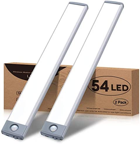 Motion Sensor Closet Light 54 LED Under Cabinet Night Lighting, 2500mAh Rechargeable Ultra Thin Magnetic Closet Lighting, 350lm Led Wireless Lights for Kitchen, Stairs, Bedroom(White, 2Pack)