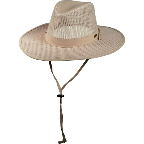 Stetson No Fly Zone Big Brim Mesh Safari Hat w/ Chin Cord (Khaki, Size Large) (Beige Mesh Hat)