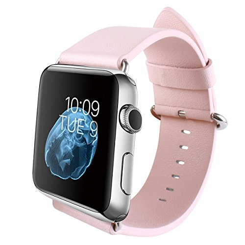 Apple watch Band, 38mm PU Leather Band For Apple Watch Series 1 Series 2 Series 3 Sport and Edition Replacement Band iWatch Strap(38mm, Pink)