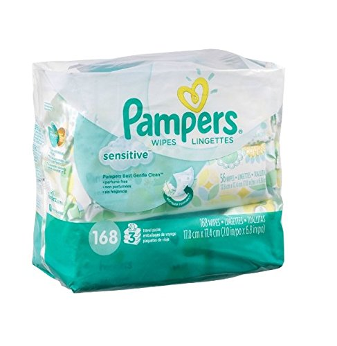 Pampers Sensitive Wipes Travel Packs 168 CT (Pack of 12) by Pampers