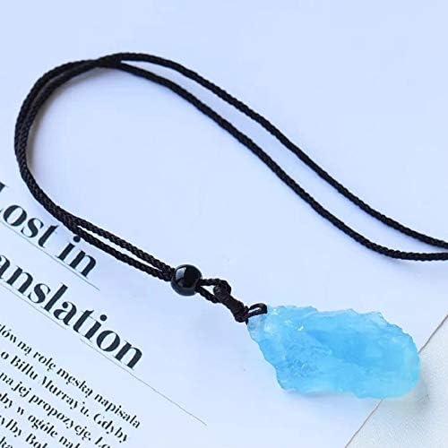ACEACE 1pcs Cristal de Color Aguamarina Natural de Tipo decoración de la joyería de Cristal Mineral Originales de Piedra Colgante de Cuarzo par de Regalo de cumpleaños