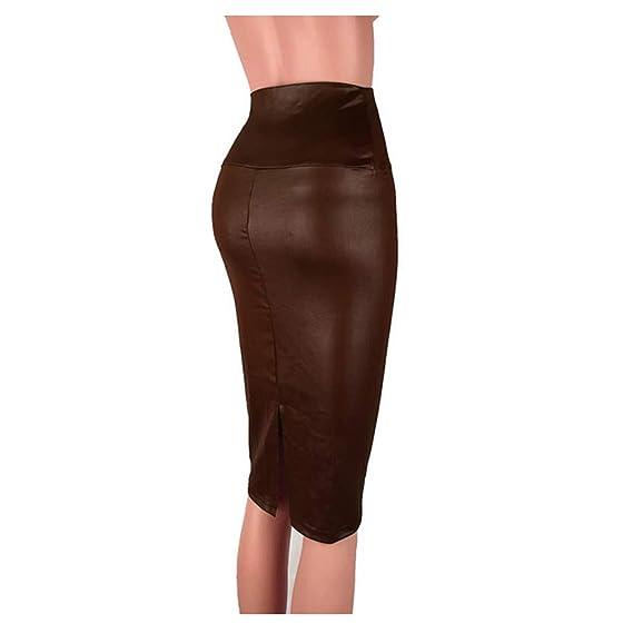 Falda Mujer Larga Elástica Cuero Artificial, Morbuy Corta Cintura ...