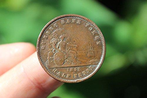 Canadian coin, Half Penny=Un Sou, Quebec Bank Token, F/VF, 1852