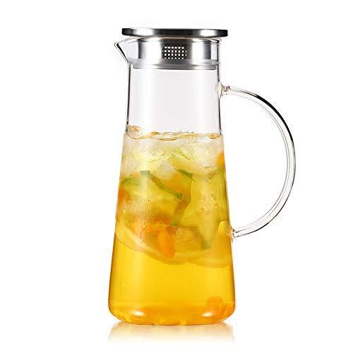 Amazon.com: Jarra de té de cristal con tapa de acero ...