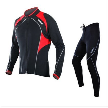 Sobike Cycling Suits Fleece Thermal Long Jersey Pants Tights-Cruise Red Black (XL)