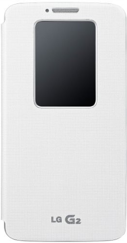 LG White QuickWindow Convenient Folio Flip Diary Case Cover for LG G2 (EXCLUDINGVerizon) [Sprint, Virgin Mobile, AT&T Only]