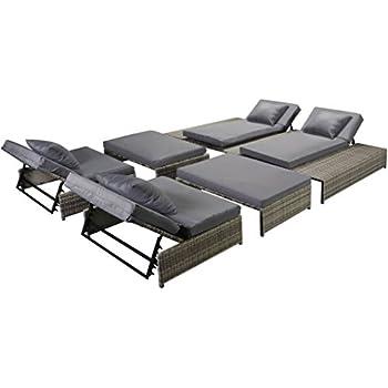 Amazon Com Festnight 5 Piece Outdoor Patio Chaise Lounge