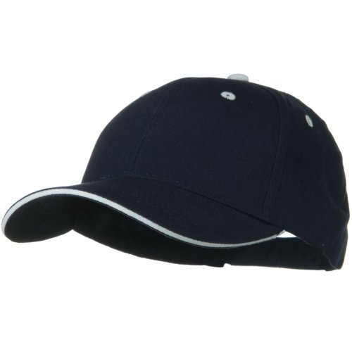 (Otto Caps Solid Brushed Twill Sandwich Visor Cap - Navy White)