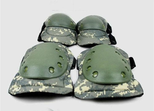 Acu Body Armor - 1 Set Anatomical Adult Military Tactical Elbow & Knee Safety Pads for Extreme Sports Safety Racing Enforcer BMX SWAT Skate Skateboarding Bike Game Protective Gear - Camo ACU