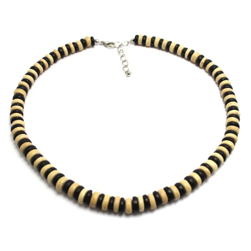 Surfer Necklace Made from Alternating Black and Light Brown Coco Pukalet Beads with Lobster Lock (18 IN)