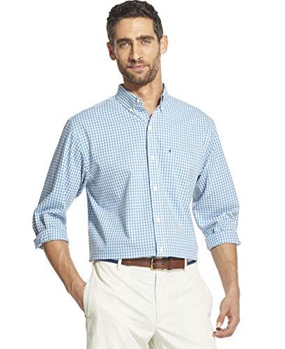 IZOD Men's Button Down Long Sleeve Stretch Performance Gingham Shirt, Anise Flower, Small