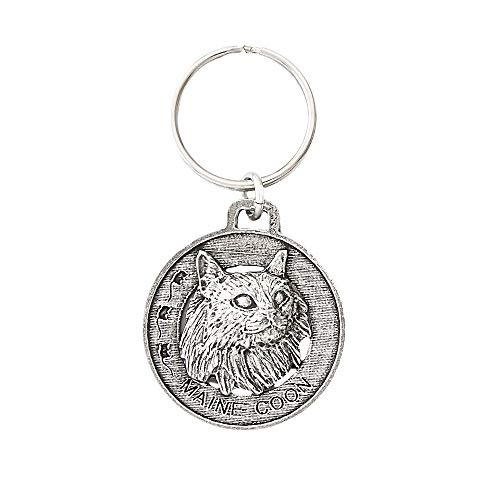 Maine Coon Cat Pewter Key Chain, Key Fob, Key Ring, Gift, C005KC