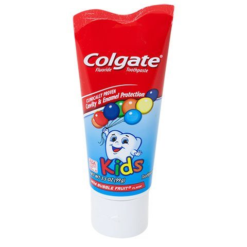 Kids Toothbrush Toothpaste and Flossers Kit - 3 Kids Soft Bristle Toothbrushes Designed for Smaller Teeth & Gums Colgate Bubble Fruit Toothpaste & Kids Flossers with Fluoride Fruit Smoothie Swirl by Simple Brilliance (Image #3)