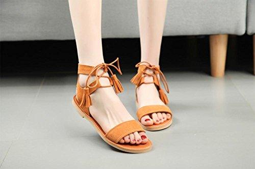 Nubuck de cuero sandalias de correa mujeres planas de los zapatos de las sandalias con flecos de palabras Yellow