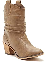 Women's Modern Western Cowboy Distressed Boot with Pull-Up Tabs