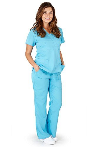 Ultra Soft Brand Scrubs - Premium Womens Junior Fit 3 Pocket Mock Wrap Scrub Set, Water Blue 39113-XX-Large (2 Pocket Mock Wrap)