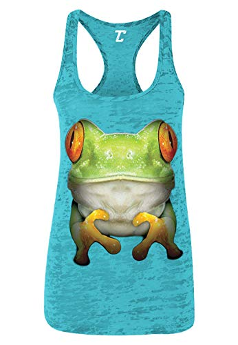 Oversized Tree Frog - Spirit Animal Nature Women's Racerback Tank Top (Teal, Large) - Lily Display Pad Frog