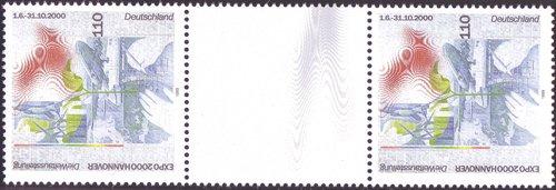 Goldhahn BRD Nr. Nr. Nr. 2042 postfrisch  als Zwischenstegpaar Briefmarken für Sammler a6499a