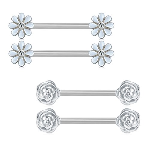 (JFORYOU Pair of Silver Spring Blossom Daisy and Rose Flower Nipple Barbell Ring 14G 5/8 inch Stainless Steel Cute Nipplepiercing)