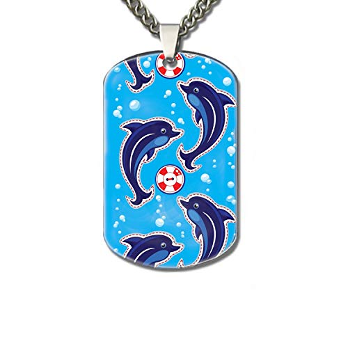 WYIOU Sea Vertical Border with Dolphins Pet Necklace ID Tags- Solid Stainless Steel, Personalized Dog & Cat Pet ()
